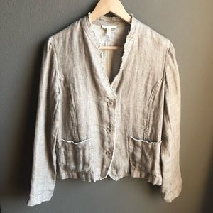 Eileen Fisher Organic Linen Jacket Light Brown Tan